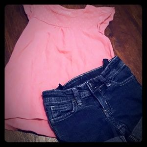Girls 5 Faded Glory Outfit Pink Tank + Denim Short